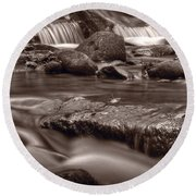 Roaring Fork Great Smokey Mountains Bw Round Beach Towel