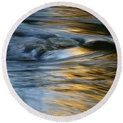Rock And Blue Gold Water Round Beach Towel