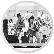 Rock And Roll At Day On The Green 1975 Round Beach Towel