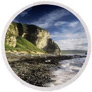 Rock Formations At The Coast Round Beach Towel