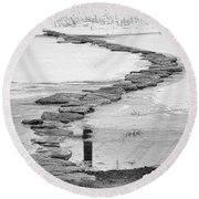 Rock Lake Crossing In Black And White  Round Beach Towel