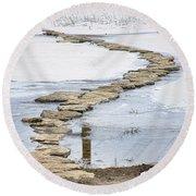 Rock Lake Crossing Round Beach Towel