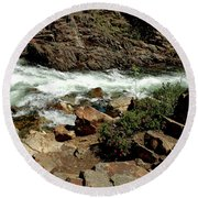 Rock Steps To Glen Alpine Creek Round Beach Towel