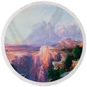 Rock Towers Of The Rio Virgin Round Beach Towel