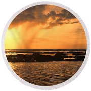Rockpool Sunset Round Beach Towel