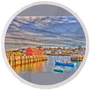 Rockport Water Color - Greeting Card Round Beach Towel