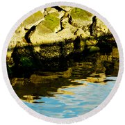 Rocks And Reflections On Ocean Round Beach Towel
