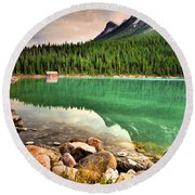 Rocks And Reflections Round Beach Towel