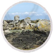 Rocks At Low Tide Iles Chausey Round Beach Towel
