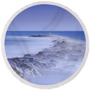 Rocks Fighting Against The Waves Round Beach Towel