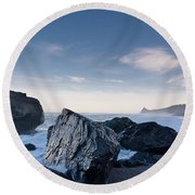 Rocks Of Dry Lagoon Round Beach Towel