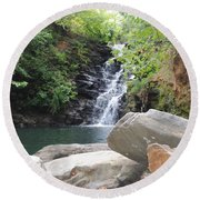 Rocks Of The Falls Round Beach Towel