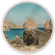 Rocks Of The Sirens Round Beach Towel by Frederic Leighton