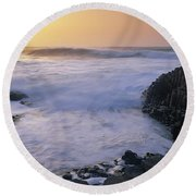Rocks On The Beach, Giants Causeway Round Beach Towel