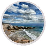 Rocky Coast In Malibu California Round Beach Towel