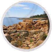 Rocky Coast Of Maine Round Beach Towel