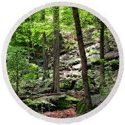 Rocky Forest Of Chatfield Round Beach Towel