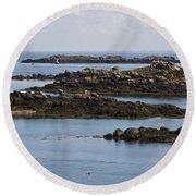 Rocky Moorings Iles Chausey  Round Beach Towel