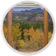 Rocky Mountain Autumn Picture Window Scenic View Round Beach Towel