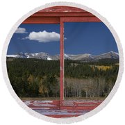 Rocky Mountain Autumn Red Rustic Picture Window Frame Photos Art Round Beach Towel