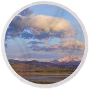Rocky Mountain Early Morning View Round Beach Towel
