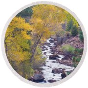 Rocky Mountain Golden Canyon Scenic View Round Beach Towel