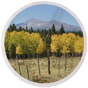 Rocky Mountain High Country Autumn Fall Foliage Scenic View Round Beach Towel
