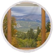 Rocky Mountain Picture Window Scenic View Round Beach Towel