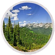 Rocky Mountain View From Mount Revelstoke Round Beach Towel