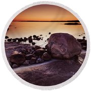 Rocky Shore At Twilight Round Beach Towel