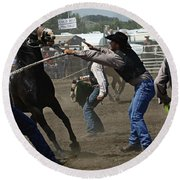 Rodeo Wild Horse Race Round Beach Towel
