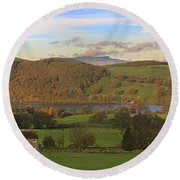 Roe House Overlooks Ullswater Near Pooley Bridge In The Lake District Round Beach Towel