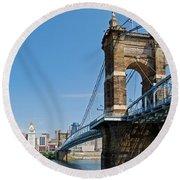 Roebling Bridge To Cincinnati Round Beach Towel