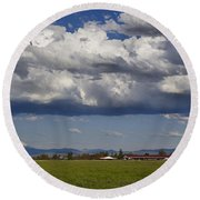 Rogue Valley Red Roof Farm Round Beach Towel