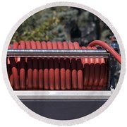 Rolled Fire Hose Round Beach Towel