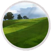 Rolling Green Fields At End Of Day  Round Beach Towel