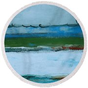 Rolling On The Blue II Round Beach Towel