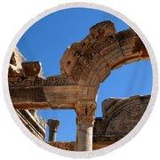 Roman Arch Ephesus Turkey Round Beach Towel