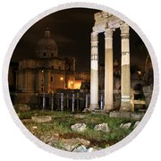 Roman Ruins 1 Round Beach Towel