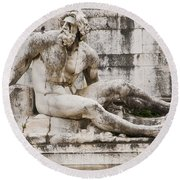Roman Statue With Pigeon And Wildflowers Round Beach Towel