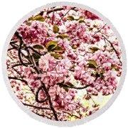 Romantic Cherry Blossoms Round Beach Towel