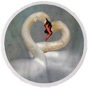 Romantic Image Of Courting Swans Round Beach Towel