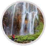 Romantic Scenery By The Waterfall Round Beach Towel