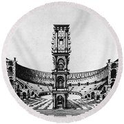 Rome: Colosseum, 1685 Round Beach Towel