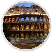 Rome Colosseum Dusk Round Beach Towel