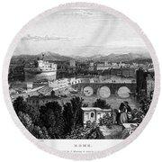 Rome: Scenic View, 1833 Round Beach Towel