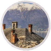 Roof With Chimney And Snow-capped Mountain Round Beach Towel