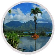Rooftop Fountain In Paradise Round Beach Towel