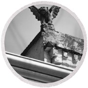 Rooftop Gargoyle Statue Above French Quarter New Orleans Black And White Diffuse Glow Digital Art Round Beach Towel by Shawn O'Brien