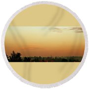 Rooftops At Sunset Round Beach Towel